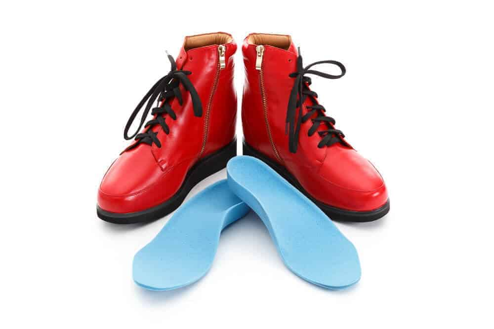 Custom Footwear Red shoes with blue insoles
