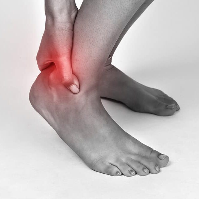 Achilles Tendinopathy marked with red flash