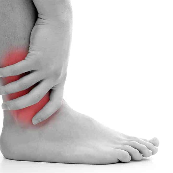 Ankle Pain marked with red flash