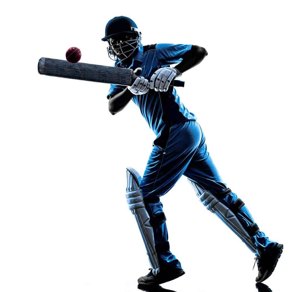 An illustration of a cricket player in action