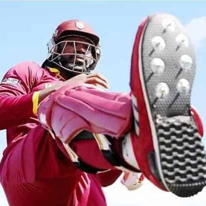 Chris Gayle wearing a Custom Cricket Shoes